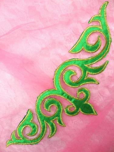 GB276 Green Gold Embroidered Applique Iron On Patch 9.5\