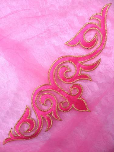 GB276 Pink Gold Embroidered Applique Iron On Patch 9.5\