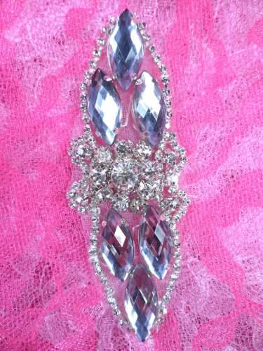 GB282 Silver Marquise Crystal Rhinestone Applique Embellishment 3.25\
