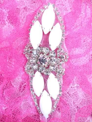 GB282 White Marquise Crystal Rhinestone Applique Embellishment 3.25\