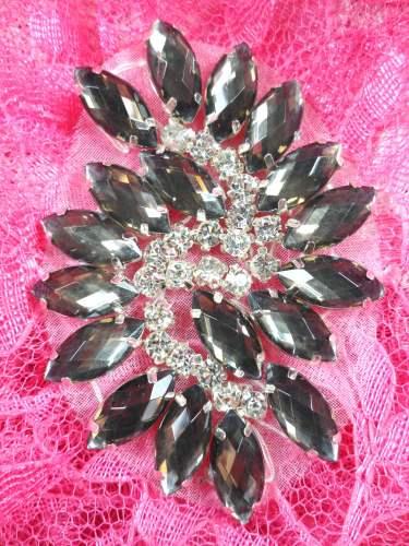 GB283 Brown Marquise Swirl Crystal Rhinestone Applique Embellishment 2.5\