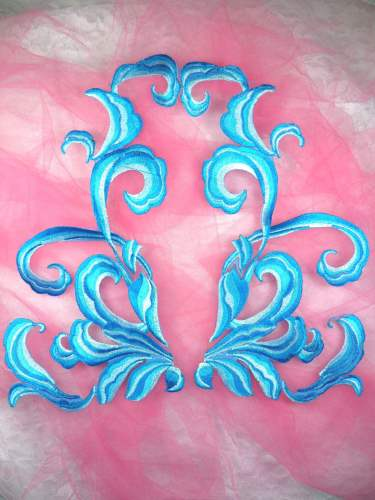 (REDUCED) Turquoise Embroidered Appliques Dance Costume Mirror Pairs 11 RMGB289X