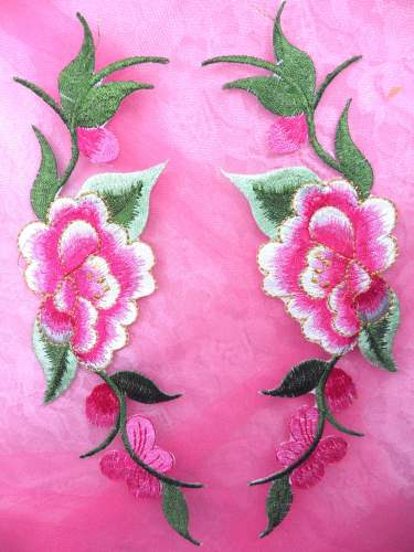 GB295 Pink Embroidered Floral Mirror Pair Appliques 8