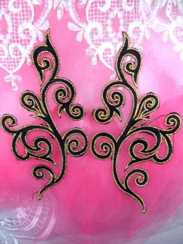 GB304 Embroidered Appliques Mirror Pair Black Metallic Gold Iron On Patch 6.5\