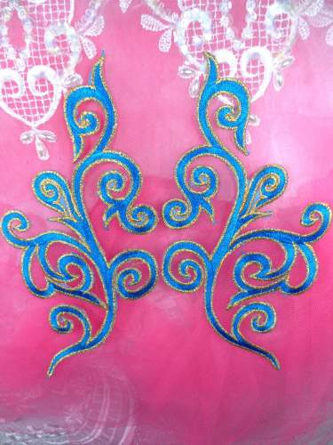 GB304 Embroidered Appliques Mirror Pair Turquoise Metallic Gold Iron On Patch 7\