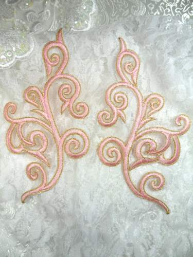 GB304 Embroidered Appliques Mirror Pair Pink Gold Metallic Iron On Patch 7\