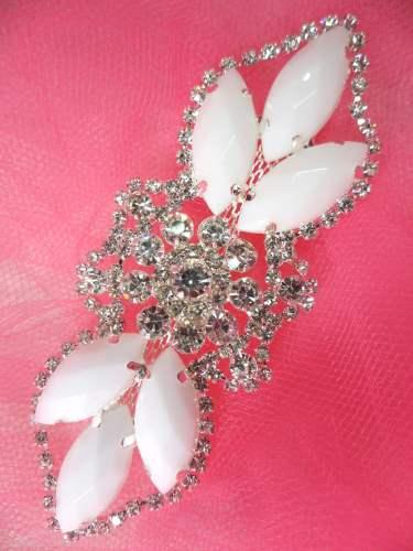 GB318 White Marquise Crystal Rhinestone Applique Embellishment 3.25\