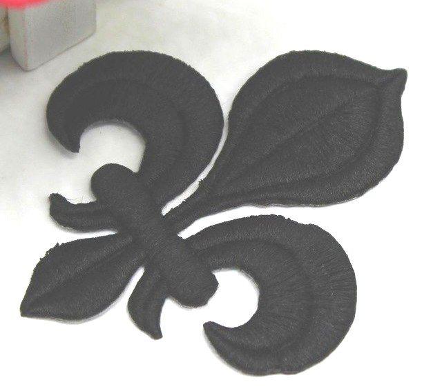 Fleur De Lis Embroidered Applique Black Iron On Clothing Patch 4 GB323