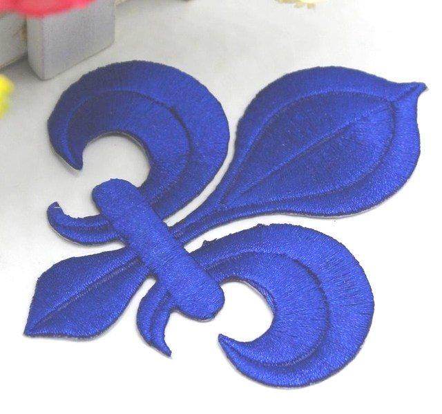 Fleur De Lis Embroidered Applique Blue Iron On Clothing Patch 4 GB323