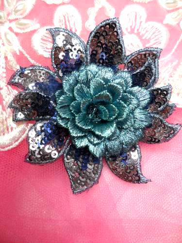 GB333 Embroidered Metallic Blue Sequin Floral 3D Applique 3