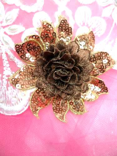 GB333 Embroidered Metallic Brown Bronze Sequin Floral 3D Applique 3