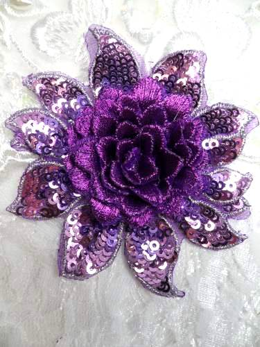 GB333 Embroidered Metallic Purple Sequin Floral 3D Applique 3