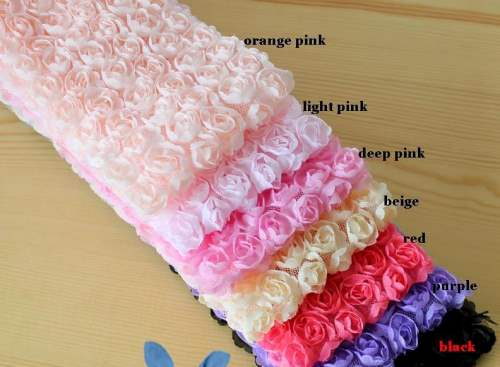 GB338 Black Lace Trim Wedding Bridal Floral Sewing  3.5\