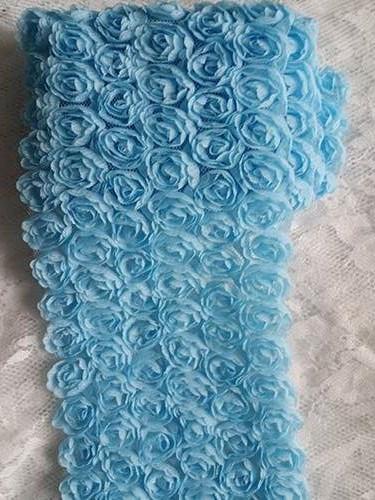 GB338 Light Blue Lace Wedding Bridal Floral Sewing Trim 3.5\