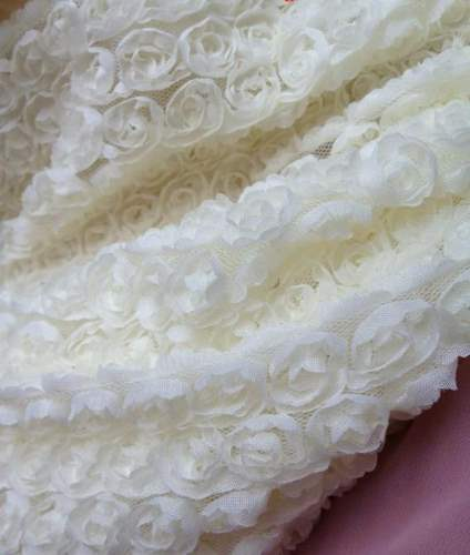 GB338 White Lace Wedding Bridal Floral Sewing Trim 3.5\