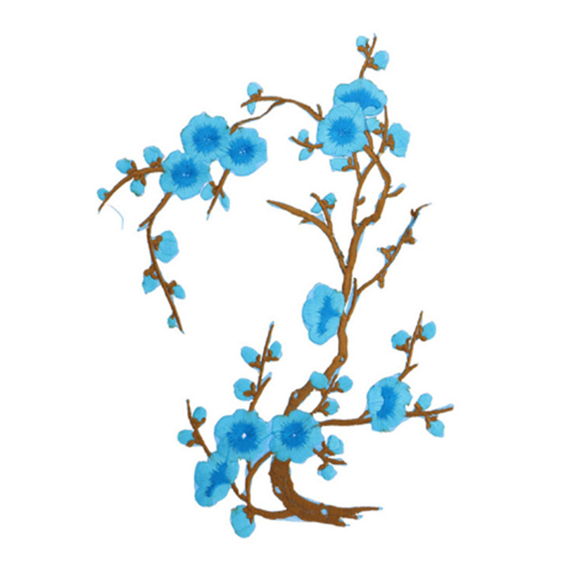GB342 Turquoise Flower Branch Embroidered Floral Applique Iron On Patch 15