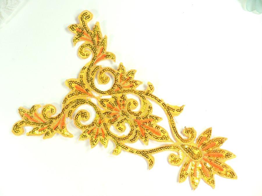 GB345 Bright Gold Orange Bodice Yoke Embroidered Sequin Applique Motif 9.75
