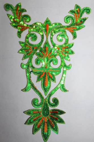 GB345 Green Orange Gold Bodice Yoke Embroidered Sequin Applique Motif 9.75