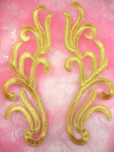GB355 Embroidered Gold Mirror Pair Appliques 8.75