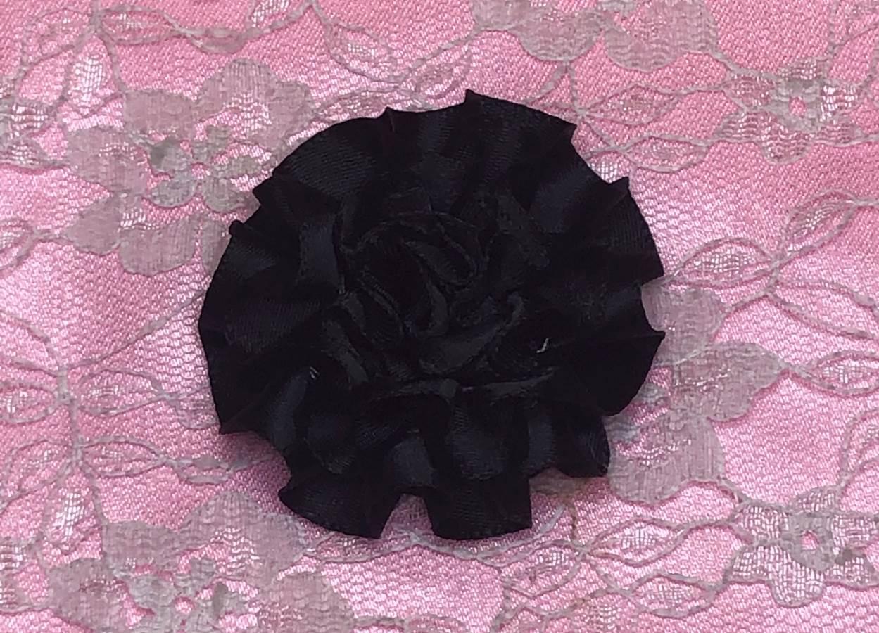 GB374 Black Satin Ribbon Floral Applique 2