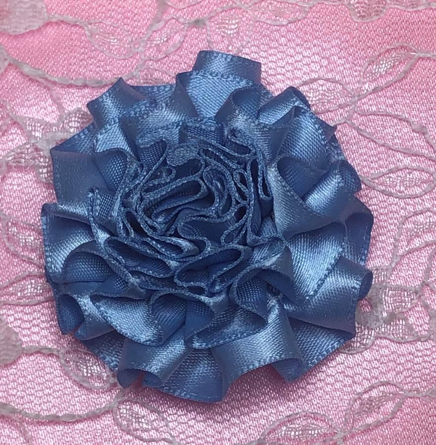 GB374 Blue Satin Ribbon Floral Applique 2