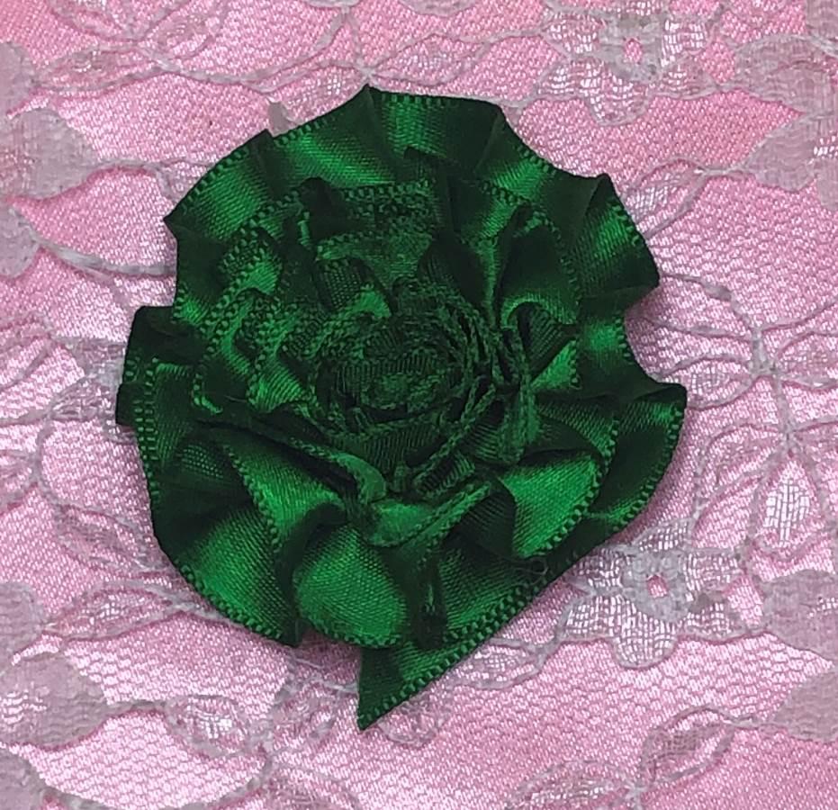 GB374 Dark Green Satin Ribbon Floral Applique 2