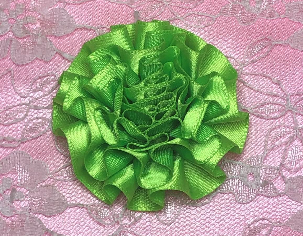 GB374 Green Satin Ribbon Floral Applique 2