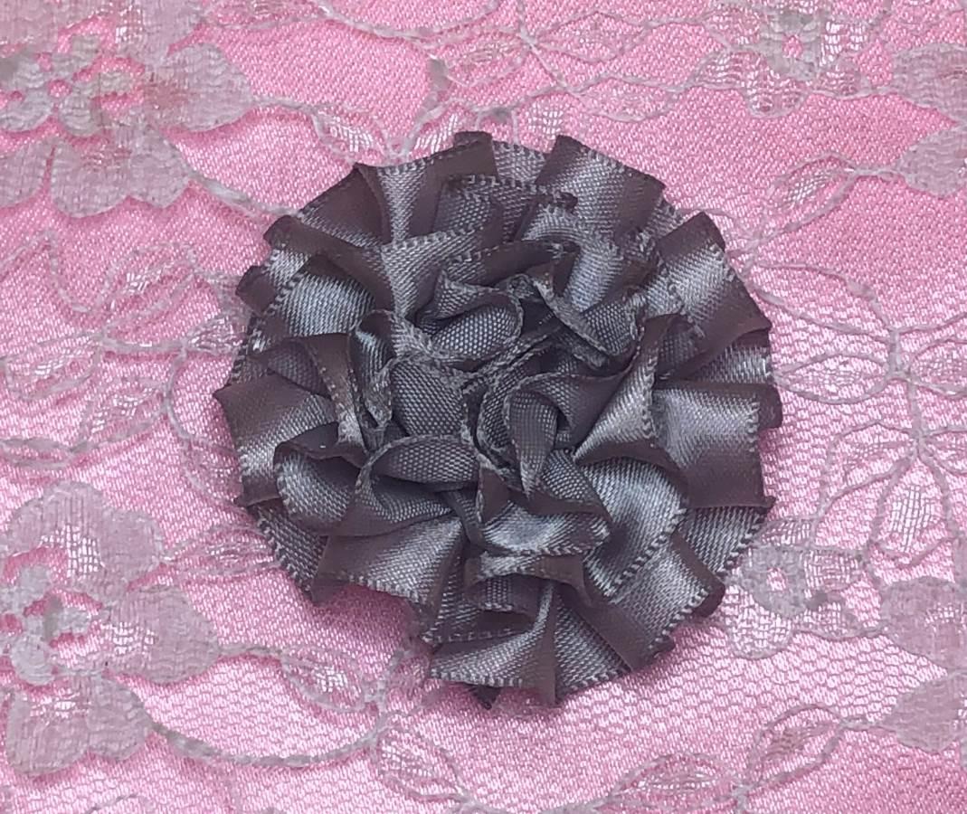 GB374 Gray Satin Ribbon Floral Applique 2
