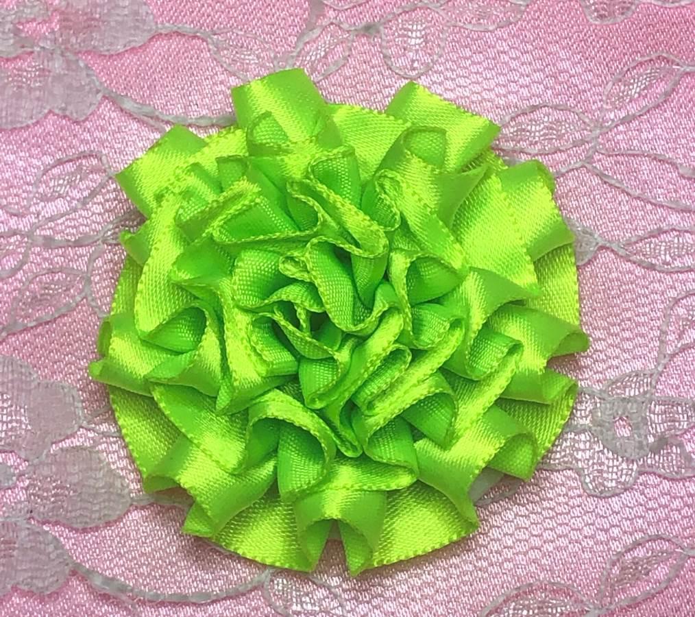 GB374 Neon Green Satin Ribbon Floral Applique 2