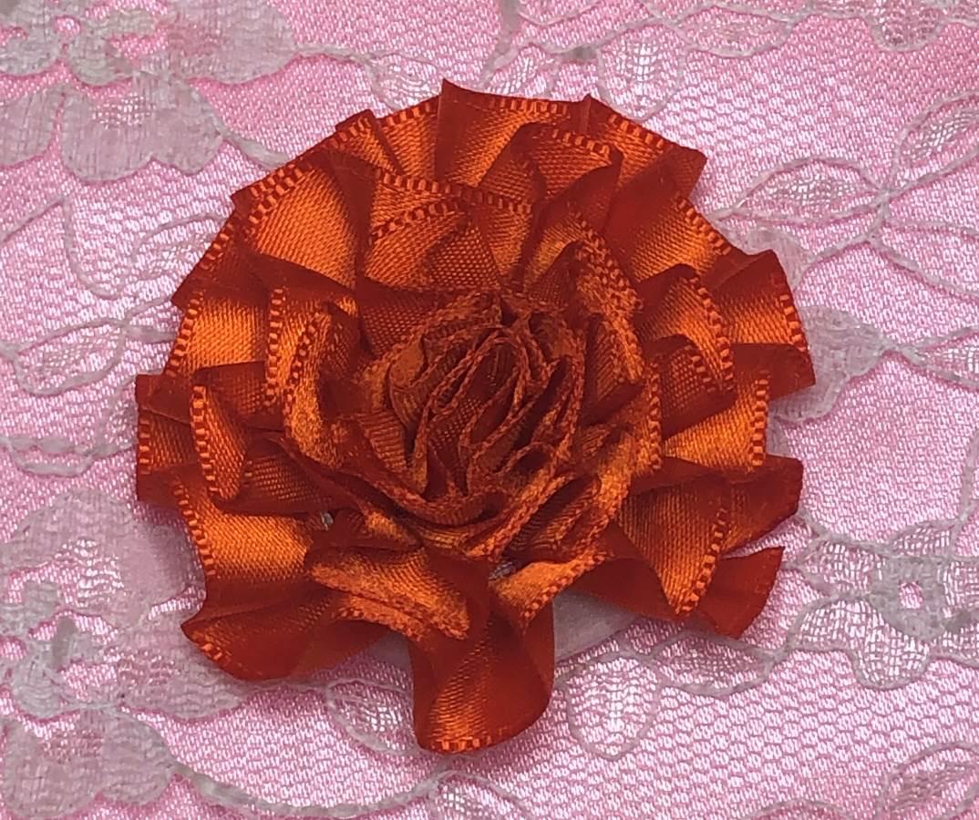 GB374 Orange Satin Ribbon Floral Applique 2