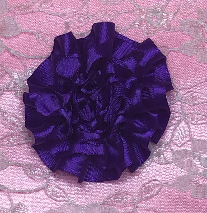 GB374 Purple Satin Ribbon Floral Applique 2