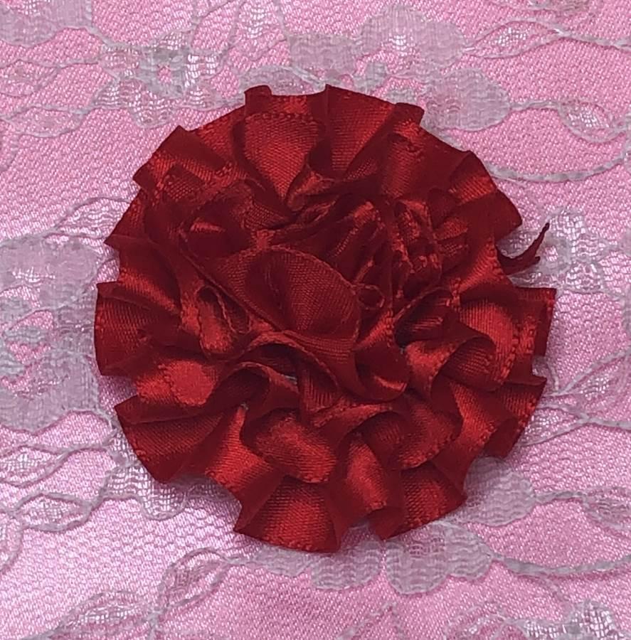GB374 Red Satin Ribbon Floral Applique 2