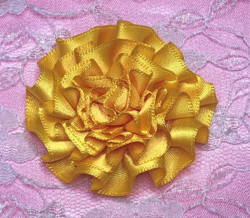GB374 Yellow Satin Ribbon Floral Applique 2