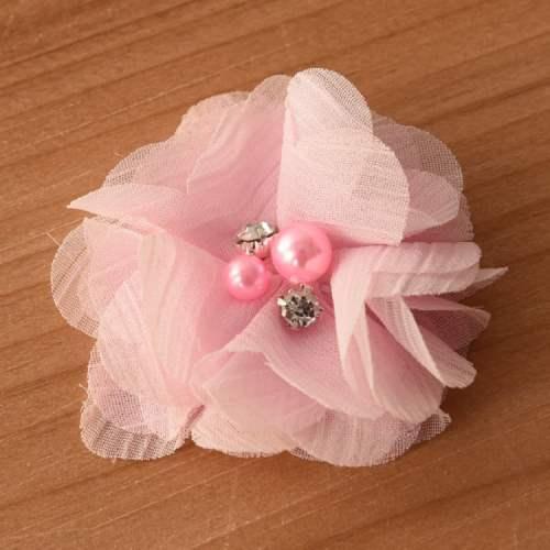 GB375 Pink Chiffon Crystal Rhinestone Pearl Floral Applique 2\