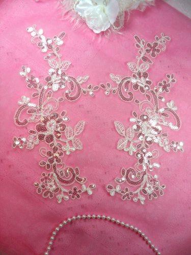 GB383 Flower Appliques Antique White Crystal Venice Lace Mirror Pair w/ Sequins 11