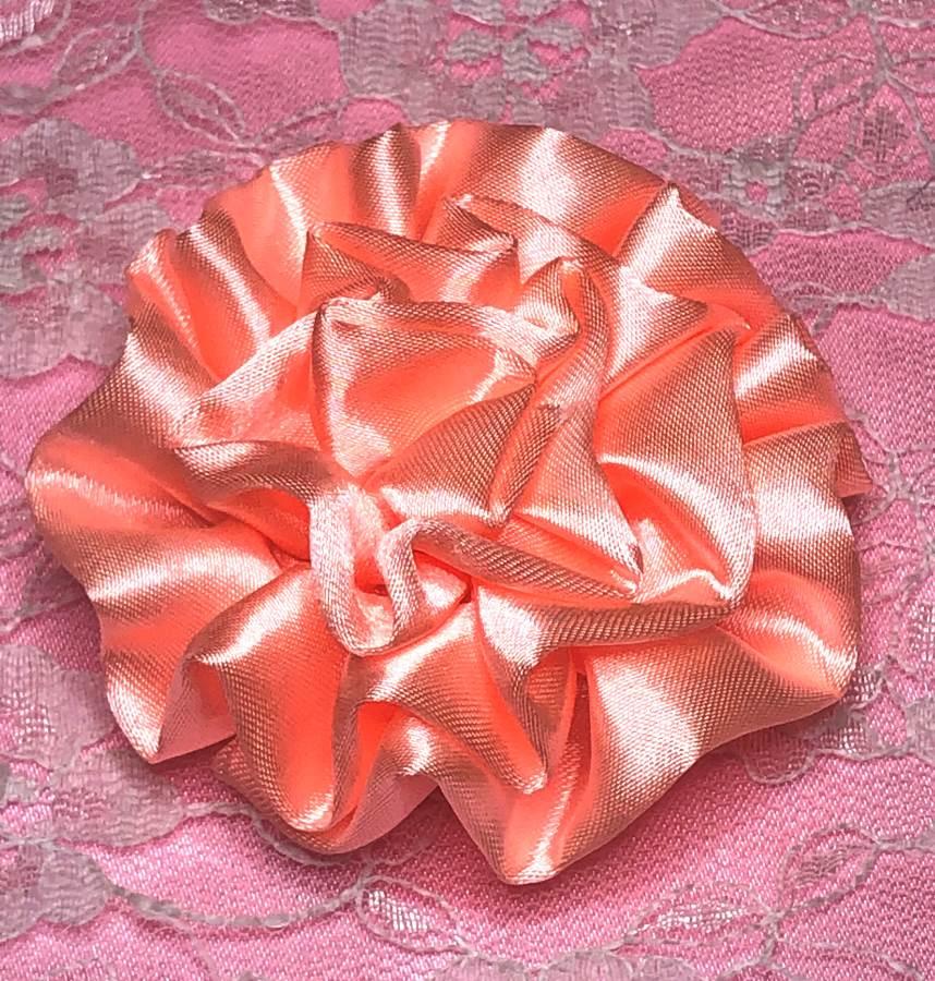 GB4 Fluffy Neon Peach Satin Floral Bow Applique 2.5