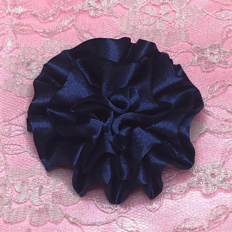 GB4 Fluffy Navy Blue Satin Floral Bow Applique 2.5