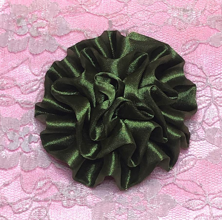GB4 Fluffy Olive Satin Floral Bow Applique 2.5