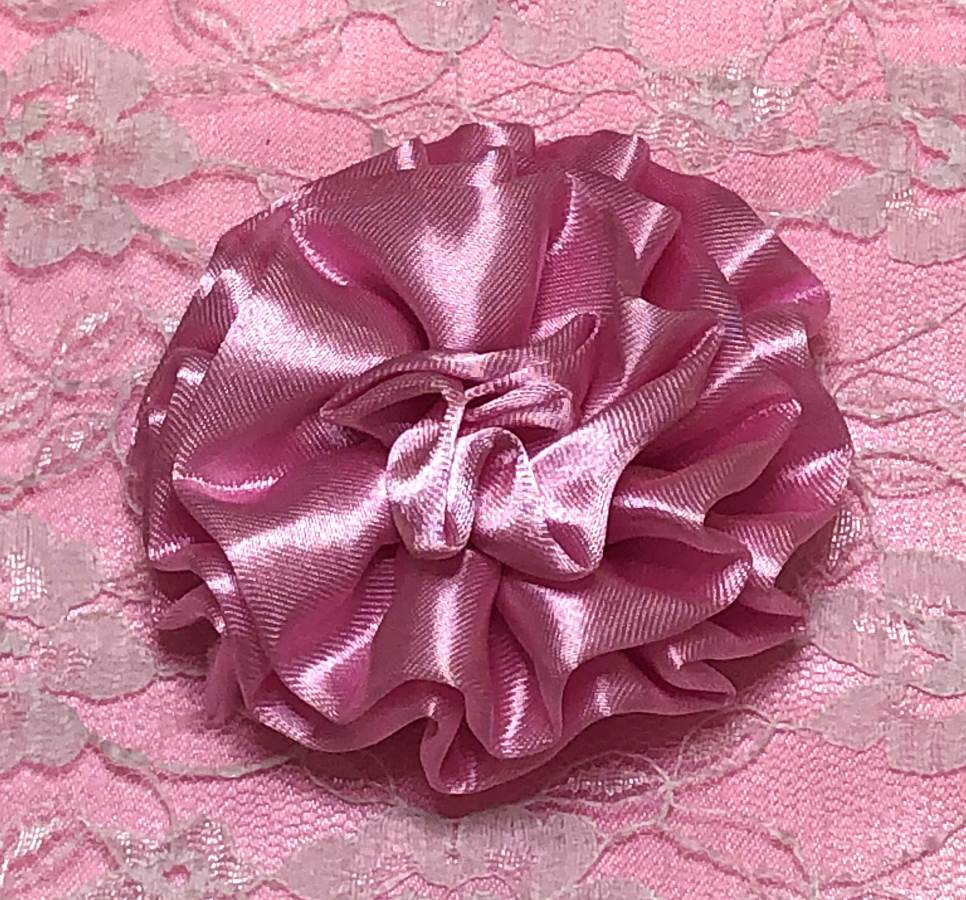 GB4 Fluffy Pink Satin Floral Bow Applique 2.5