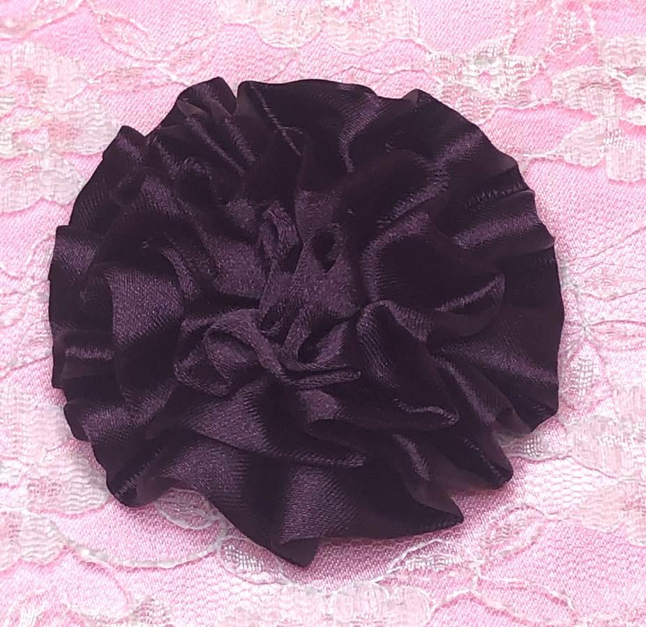 GB4 Fluffy Plum Satin Floral Bow Applique 2.5