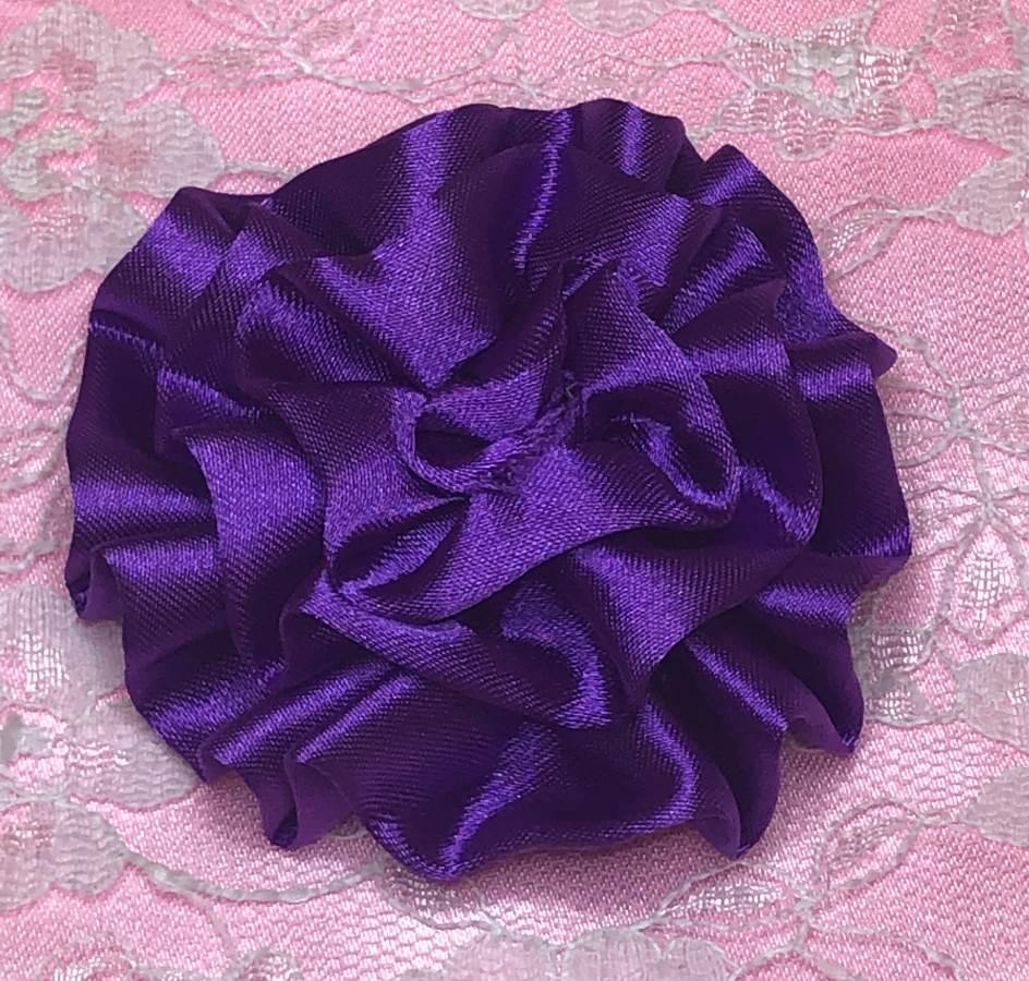 GB4 Fluffy Purple Satin Floral Bow Applique 2.5