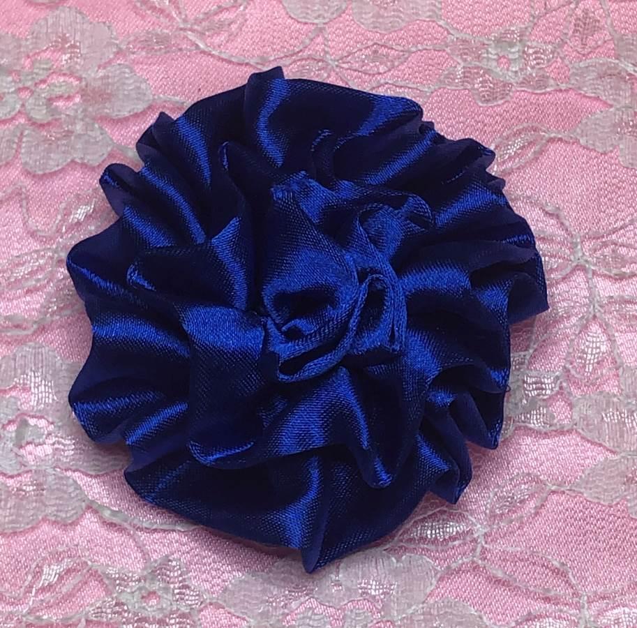 GB4 Fluffy Royal Blue Satin Floral Bow Applique 2.5