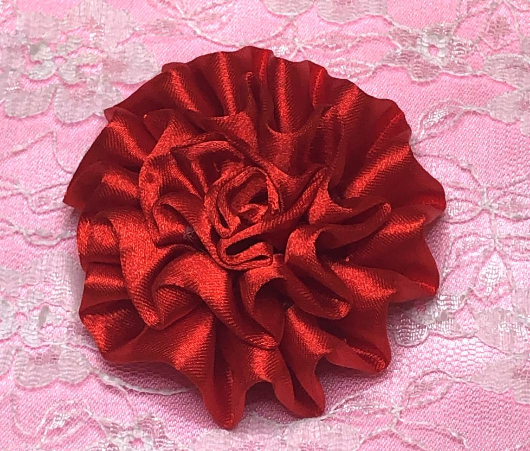 GB4 Fluffy Red Satin Floral Bow Applique 2.5