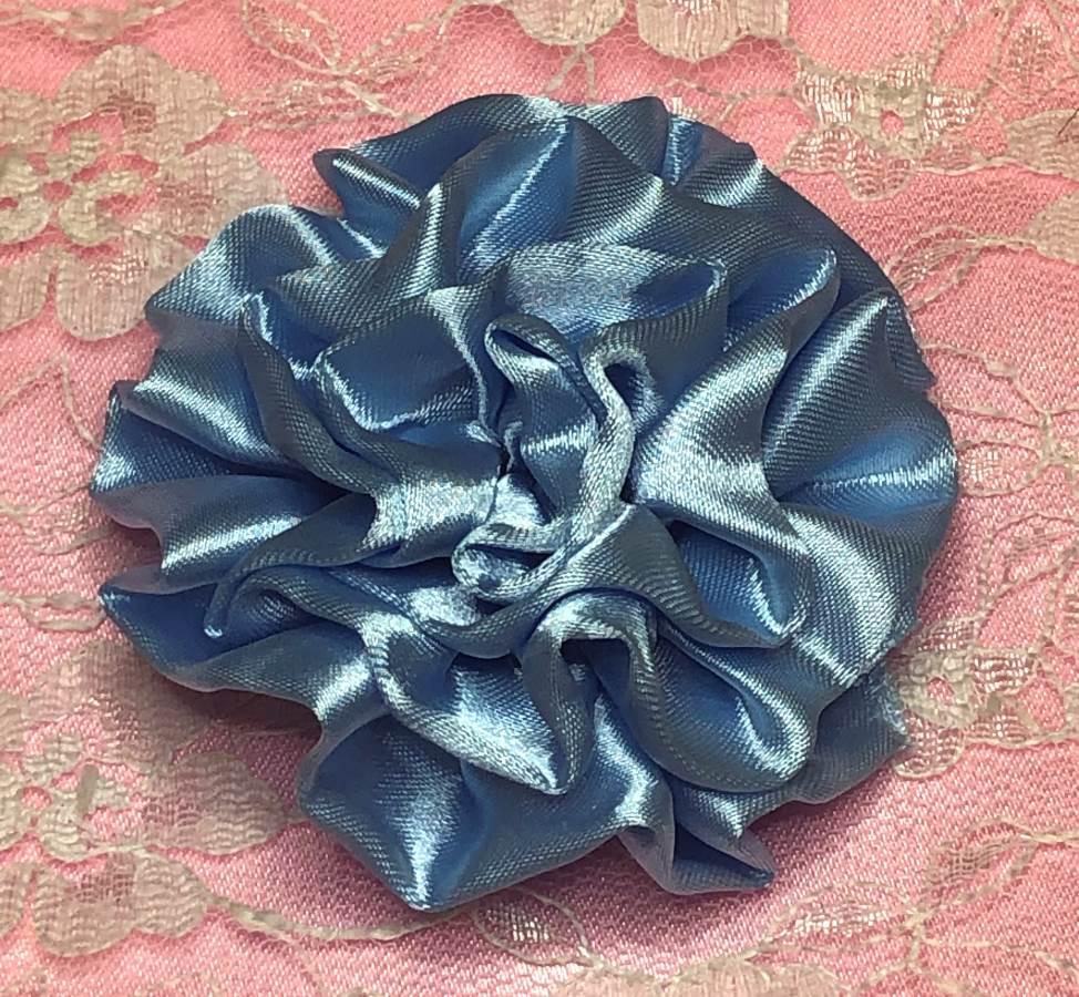 GB4 Fluffy Sky Blue Satin Floral Bow Applique 2.5
