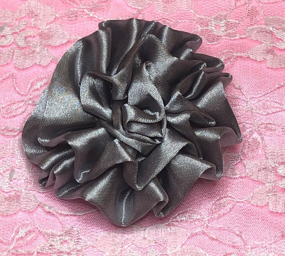 GB4 Fluffy Silver Satin Floral Bow Applique 2.5
