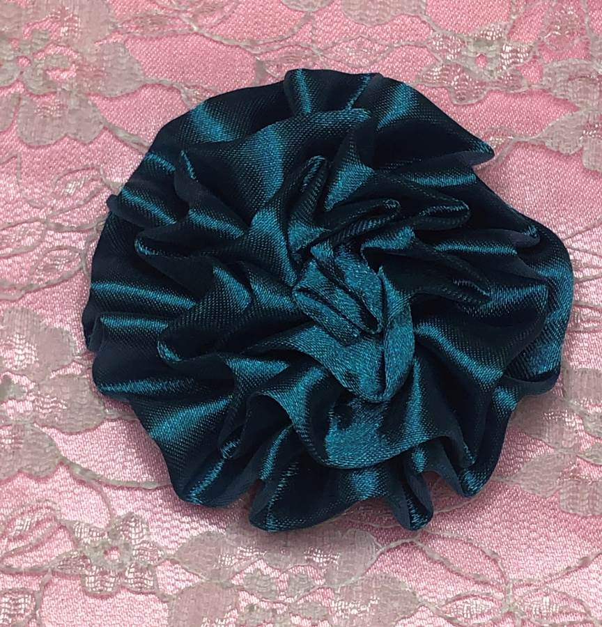 GB4 Fluffy Teal Satin Floral Bow Applique 2.5