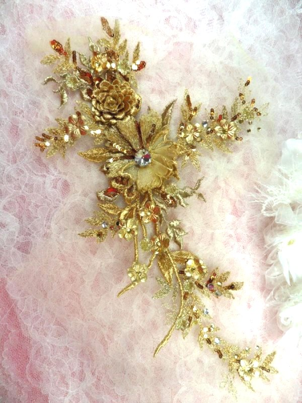 Embroidered 3D Applique Gold Floral Sequin Patch Rhinestone Center 14 (DH70)