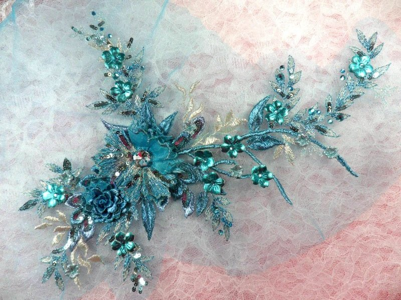 Embroidered 3D Applique Rhinestone Center Turquoise Floral Sequin Patch 14 (DH70)