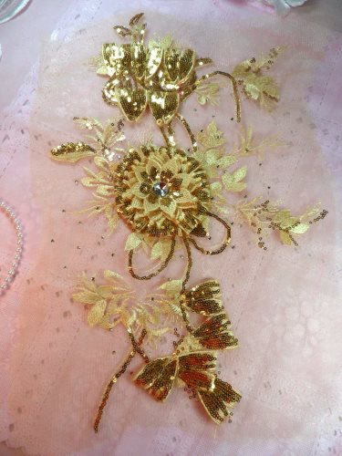 GB418 Embroidered 3D Applique Gold Floral Sequin Patch Rhinestone Center 17.25