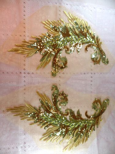 One Side Embroidered Appliques Gold Sequin Mirror Pair Wing Dance Patch 16 (OSGB419)